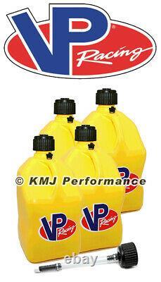 VP Racing 4-Pack Yellow Fuel Jugs Diesel Pulling Truck Drag SCCA Filler Cap